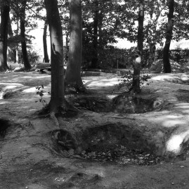 Craters left from shelling during World War I can be seen just meters from the British trenches in Belgium's Sanctuary Wood.