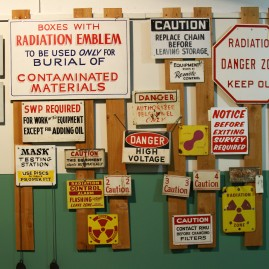 Signs from Hanford Site, the decommissioned nuclear production complex in Richland, Washington, location of the one of the largest environmental clean ups of contamination in the world, and the largest EPA Superfund effort.