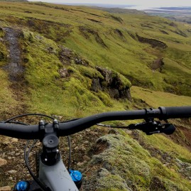Mountain biking sheep trails in Iceland.